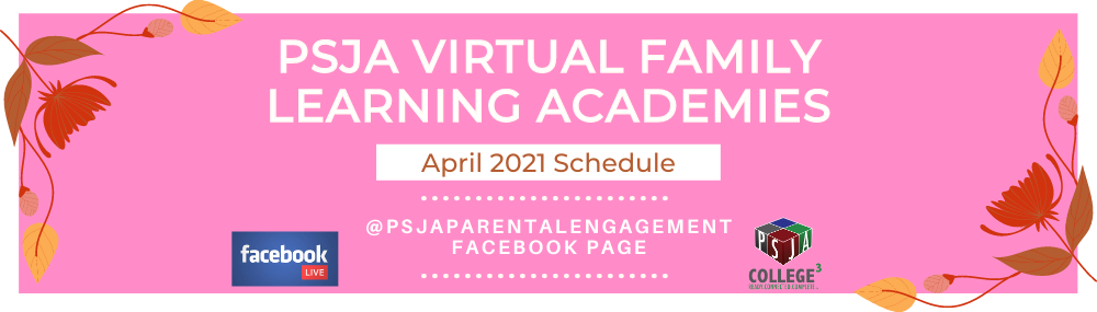 April 2021 Virtual Family Learning Academies Schedule